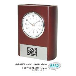 ساعت رو میزی چوبی تبلیغاتی(جاخودکاری) 5532