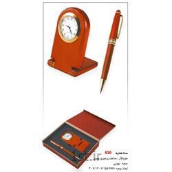 ست مدیریتی تبلیغاتی دو تیکه (خودکار،ساعت رومیزی چوبی) SM94