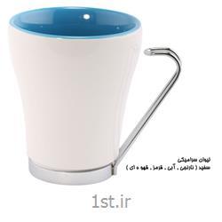 لیوان تبلیغاتی سرامیکی دسته فلزی (بیرون سفید داخل رنگی ) MC34