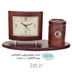 ساعت رو میزی چوبی تبلیغاتی (جاخودکاری) 5535