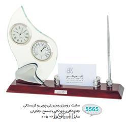 ساعت رو میزی چوبی و کریستالی تبلیغاتی (جاخودکاری،خودکار،دماسنج،جاکارتی) 5565