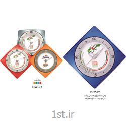 ساعت دیواری تبلیغاتی قاب رنگی چاپ اعداد روی قاب(مدل فایدیم) CW97