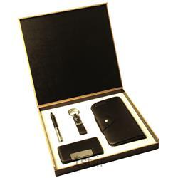 ست هدیه تبلیغاتی 4 تیکه خودکار -جاکلیدی -جاکارتی و کیف پول پالتوئی SM33