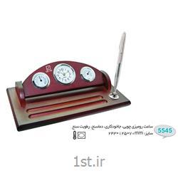 ساعت رو میزی چوبی تبلیغاتی (جاخودکاری،دماسنج،رطوبت سنج) 5545