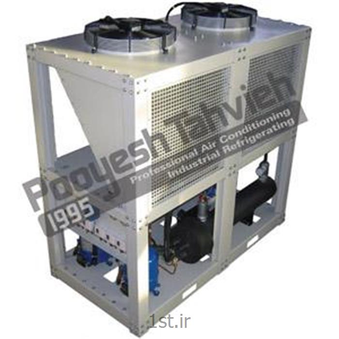 عکس قطعات و تجهیزات سرمایشی، گرمایشی و تهویه مطبوعچیلر تراکمی هوایی (هوا خنک) شرکت پویش تهویه (کمپرسور اسکرال) R407c packaged air cooled water chiller - scroll compressor