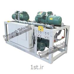 چیلر آبی 100 تن نامی شرکت پویش تهویه - کمپرسور اسکرو water cooled water chiller - screw compressor R407c - screw