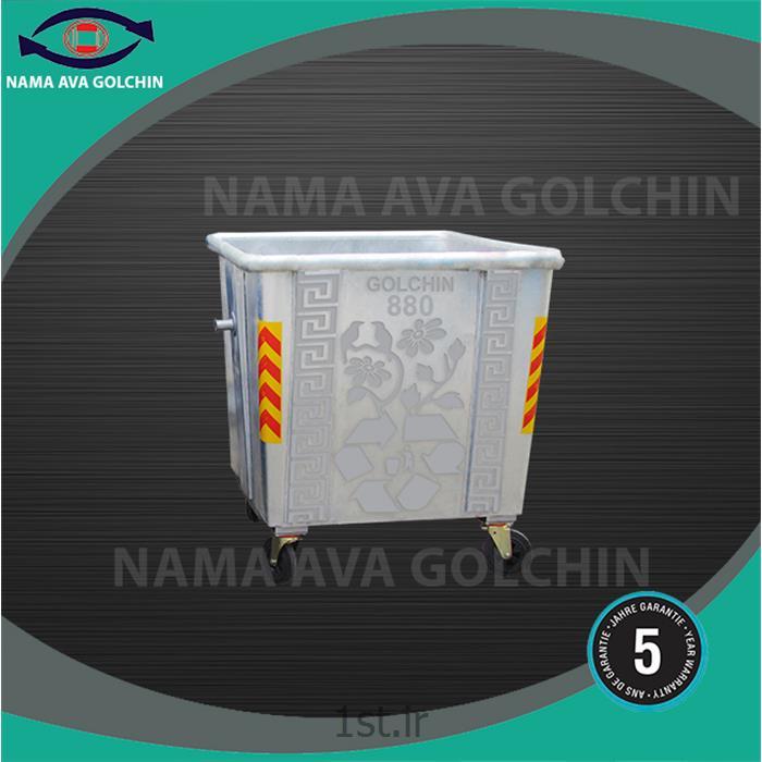 عکس سطل زباله (سطل آشغال)مخزن ایستاده استیل زباله 880 لیتری مدل TG4-3