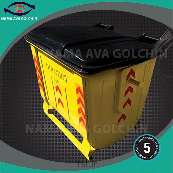 عکس سطل زباله (سطل آشغال)مخزن گالوانیزه شن و ماسه 1100 لیتری