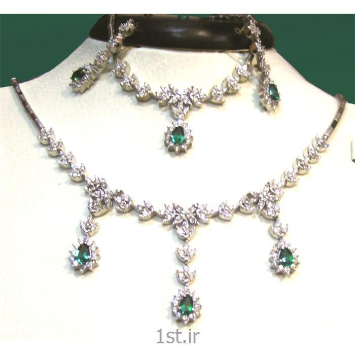 عکس مجموعه (ست) جواهرآلاتسرویس ست کامل نقره سنگ مارکیز مدل شیده 5-0211