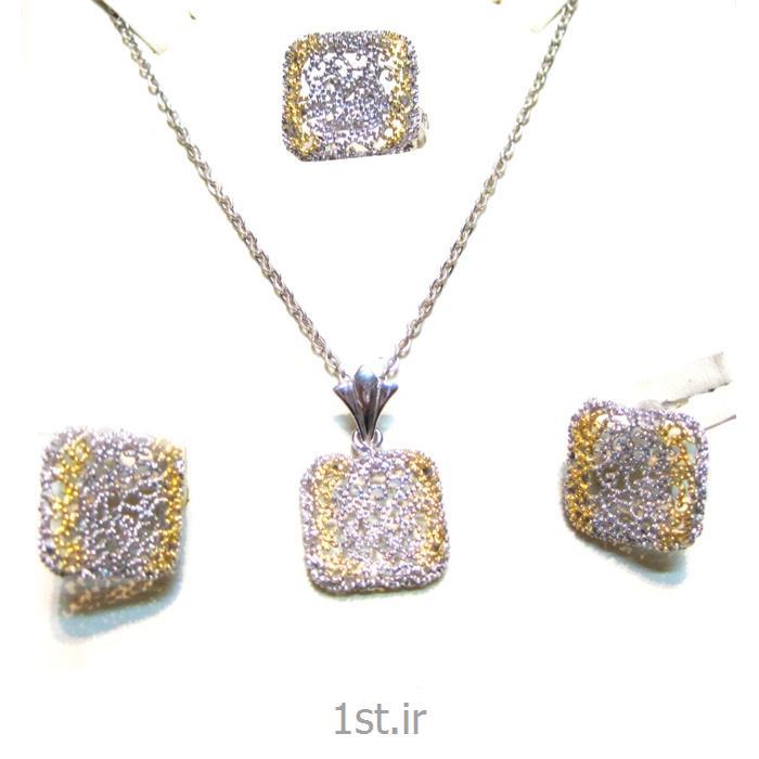 عکس مجموعه (ست) جواهرآلاتنیم ست نقره مدل نیلیا 3-0410
