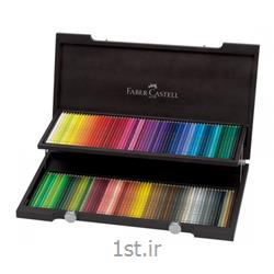 عکس ست (مجموعه) لوازم التحریرمداد رنگی پلی کروم 120 رنگ جعبه چوبی فابرکاستل