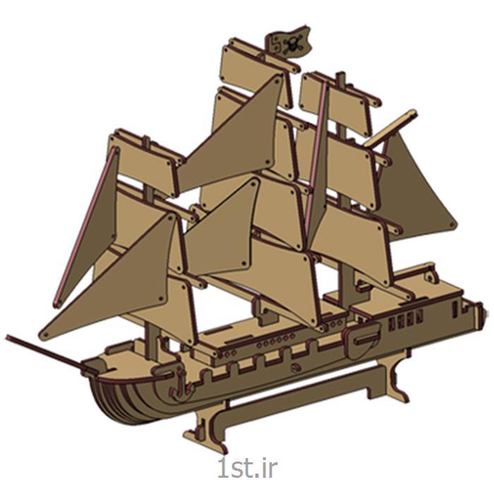 عکس پازلپازل سه بعدی ایرانی mdfکشتی بادبانی دزدان دریایی3d puzzle