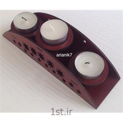 عکس پایه شمع (شمعدان)جاشمعی چوبی 3 تایی رومیزی