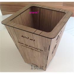 سطل زباله چوبی طرح دار