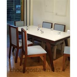 عکس ست میز و صندلی آشپزخانه ( بار )صندلی ناهار خوری چوبی مدل ماهان
