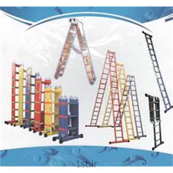 عکس نردباننردبان آلومینیومی صنعتی پلکانی (پله ای) تاشو اسانکار
