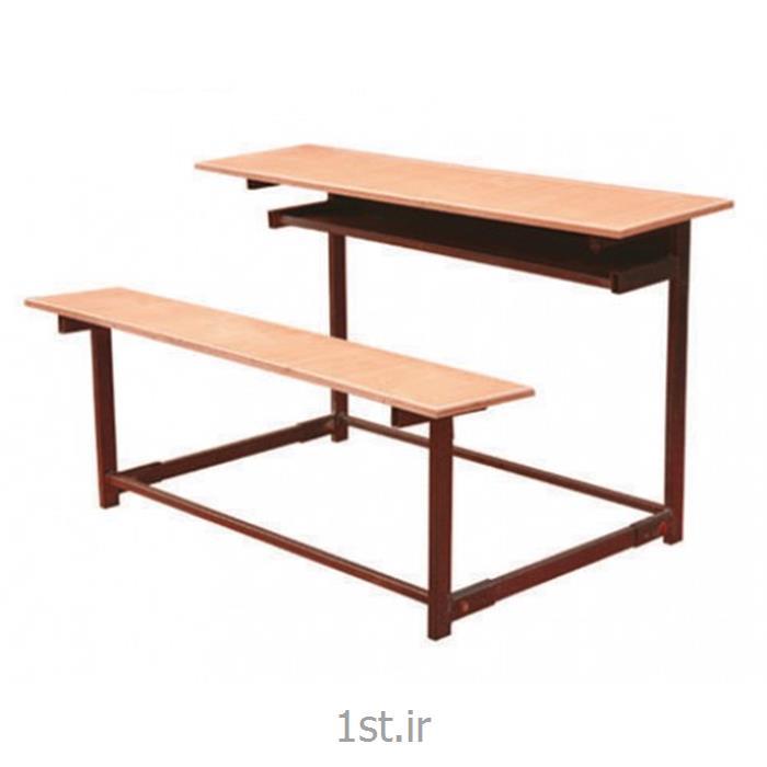 عکس ست میز و صندلی مدرسهنیمکت دانش آموزی MDF سه نفره