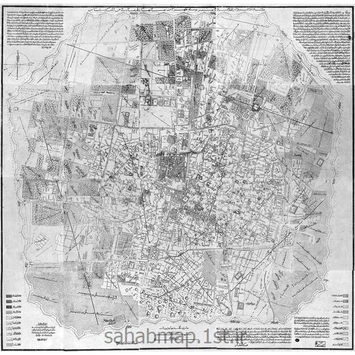 نقشه تهران ناصری (عبدالغفار) 1309 هـ.ق - اواخر دوره قاجار