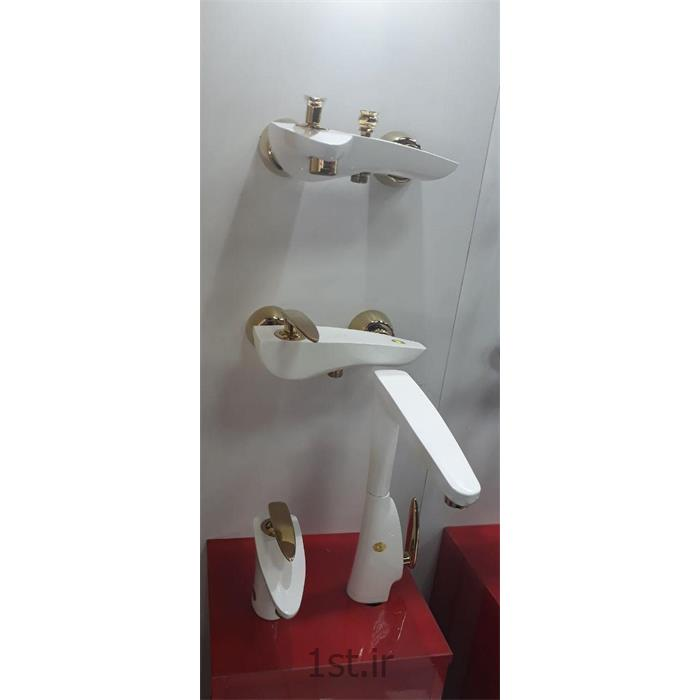 شیر اهرمی برنجی مدل اونیکس سفید طلایی ارمغان