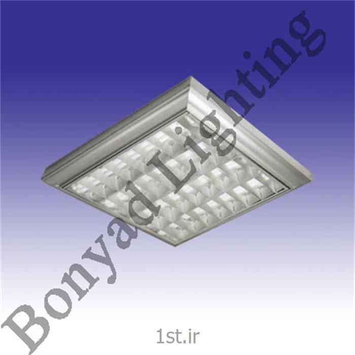 عکس چراغ سقفی توکارچراغ فلورسنت شبکه آلومینیوم آنودایز دو منظوره