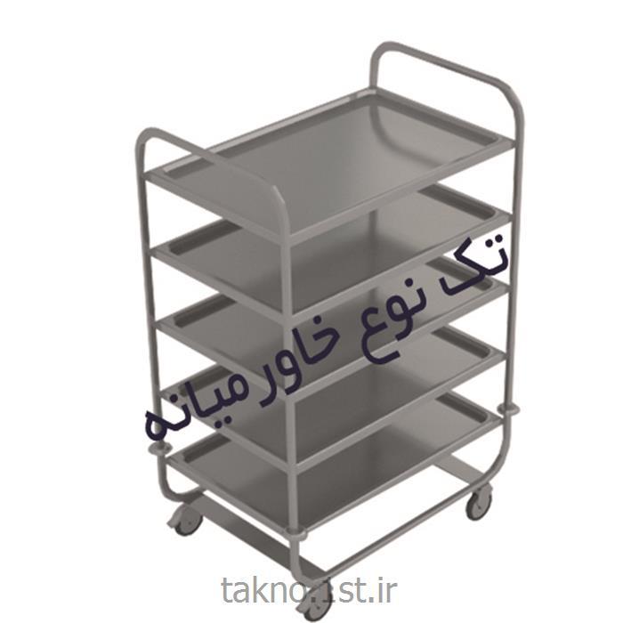 ترولی سرویس (ظروف کثیف و تمیز) استیل