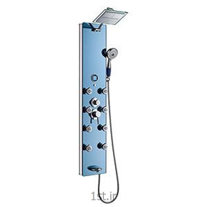 عکس شیرآلات دوش تلفنی حمامپانل دوش آلومینیومی شیشه ای آبی موست مدلPA175