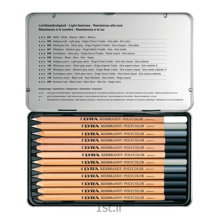 مداد 12 رنگ پلی کالر ست سفید مشکی