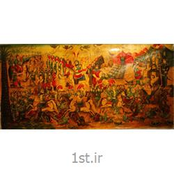 عکس صنایع دستی ظریف و مینیاتورپرده نقاشی سنتی  مذهبی  ایرانی سبک قهوه خانه ای