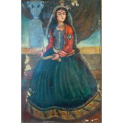 عکس نقاشی و خوشنویسیتابلو نقاشی سبک قاجاری با موضوع خاتون قاجاری