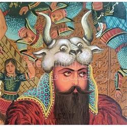 عکس نقاشی و خوشنویسیتابلو نقاشی سبک قهوه خانه ای رزم رستم و سهراب