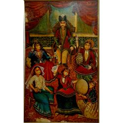 عکس نقاشی و خوشنویسیتابلو نقاشی سبک قاجاری با موضوع حرمسرای ناصری