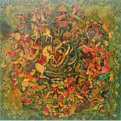 تابلو نقاشی سنتی سبک قهوه خانه ای و شاهنامه - رزمی مذهبی و بزمی