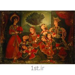عکس نقاشی و خوشنویسیتابلو نقاشی سبک قاجاری مجلس زلیخا