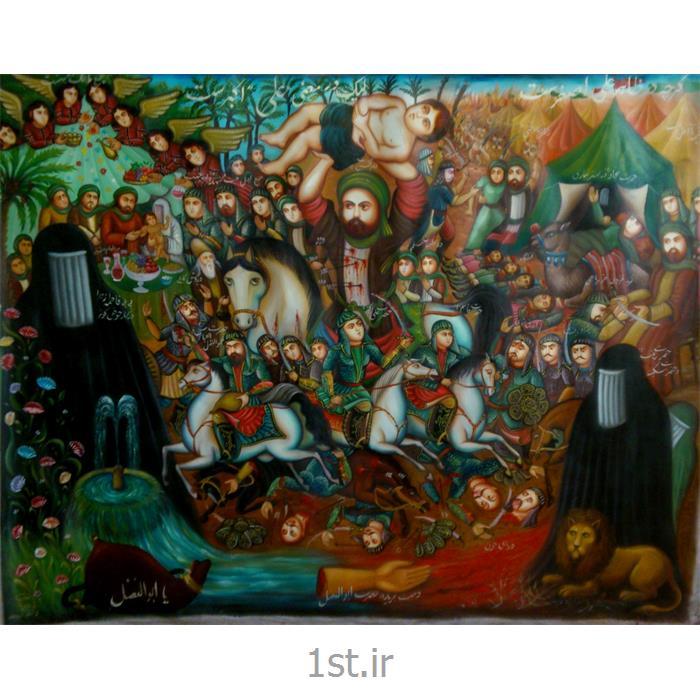 عکس نقاشی و خوشنویسیتابلو نقاشی مذهبی سبک قهوه خانه ای با موضوع علی اصغر