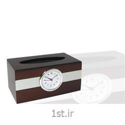 عکس ست های کادوییجای دستمال کاغذی ST چوبی همراه با ساعت ST 910