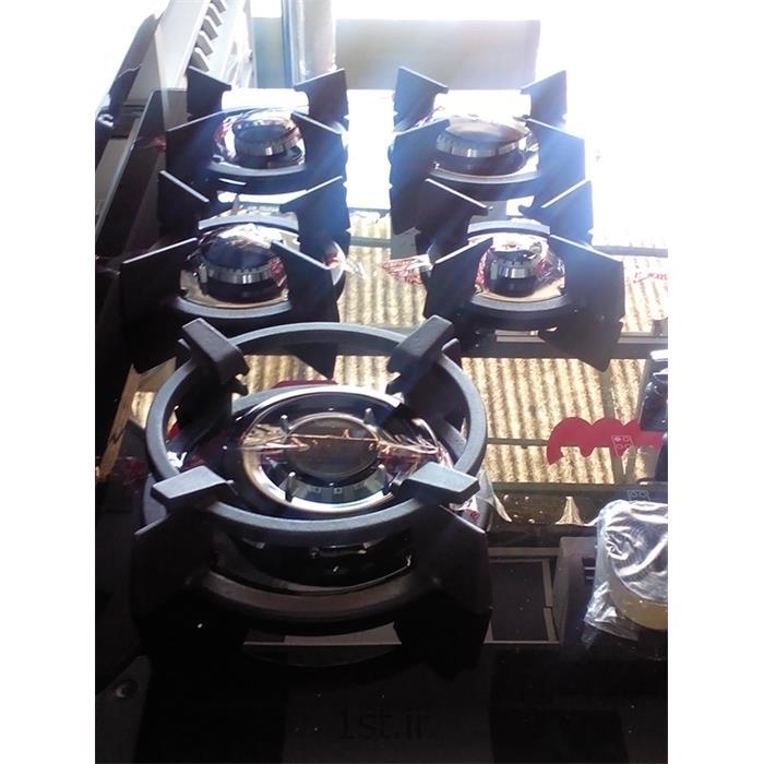 عکس هود اجاق گازاجاق گاز رومیزی استیل البرز با صفحه شیشه ای مشکی 5 شعله مدل G5907