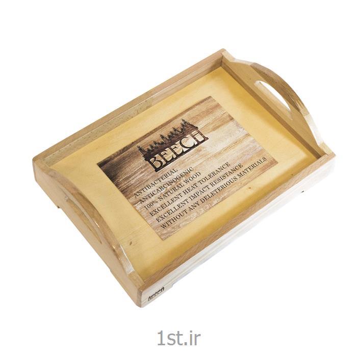 سینی دسته دار مستطیل پایه دار کوچک چوبی کد Beech AMSP3