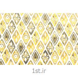 پارچه 100% پنبه عرض 200 طرح ترنج رنگ زرد