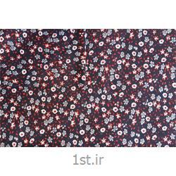 عکس پارچه کتان - پلی استرپارچه البسه پنبه پلی استر عرض 100 طرح بی بی گل رنگ سرمه ای قرمز