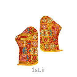 عکس دستکش کار در خانهدستکش فر دو تکه طرح شیراک رنگ نارنجی