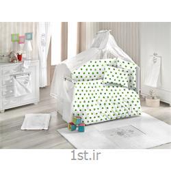 ست لحاف کودک و نوزادی هفت تکه طرح برگ رنگ سبز