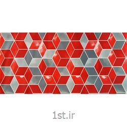 عکس پارچه کتانپارچه 100% پنبه عرض 300 طرح روبیک رنگ قرمز