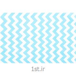 عکس پارچه کتانپارچه 100% پنبه عرض 150 طرح زیگزاگ رنگ آبی