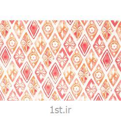 عکس پارچه کتانپارچه 100% پنبه عرض 200 طرح ترنج رنگ گلبهی