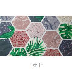 پارچه 100% پنبه عرض 240 طرح کنزا رویه رنگ سبز