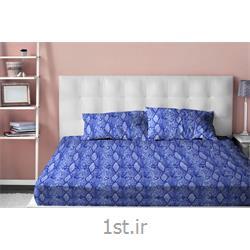 عکس ست تخت خوابملحفه نیم ست دو نفره سه تکه عرض 160 طرح مارلیک رنگ آبی