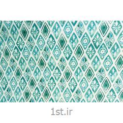 عکس پارچه کتانپارچه 100% پنبه عرض 200 طرح ترنج رنگ سبز آبی