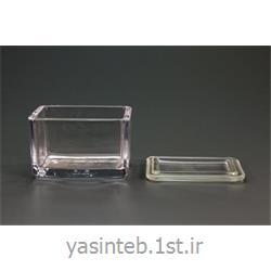 جار شیشه ای مکعبی با ابعاد 180*130*180میلی متری با لبه سمباده ای