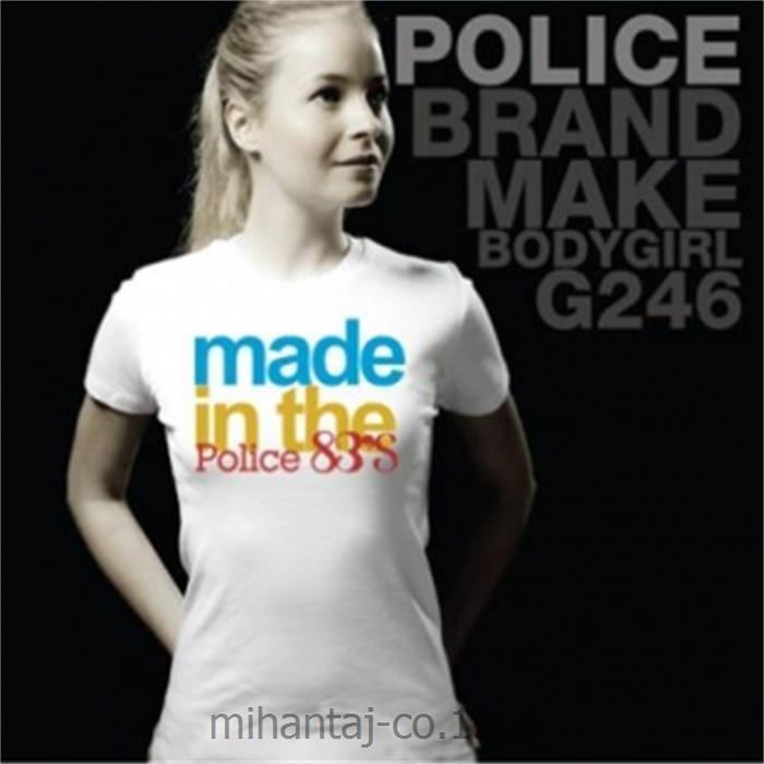 تی شرت کتان آستین کوتاه یقه گرد دخترانه مدل G246 پلیس POLICE BODY SIZE