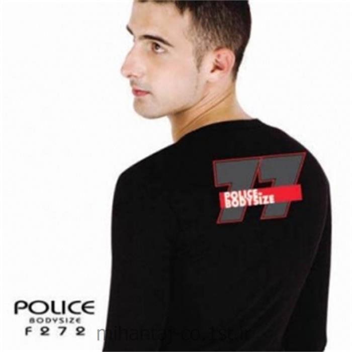 تی شرت کتان آستین بلند یقه گرد مدل F272 پلیس POLICE BODY SIZE